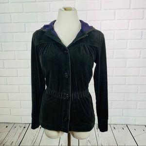Liz Claiborne Gray Velvet Hooded Jacket - M